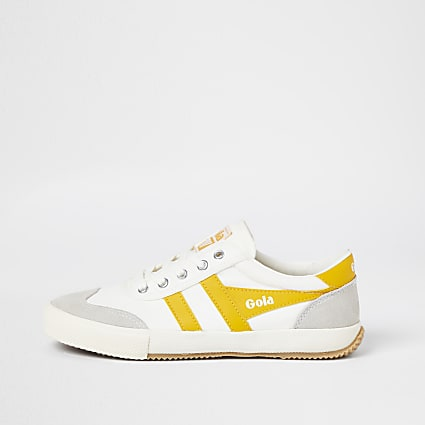 Gola white and yellow retro lace up trainers