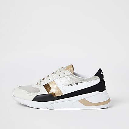 Gola white colour block runner trainers