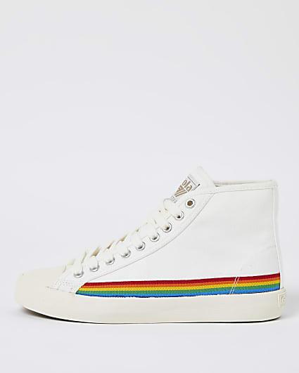 Gola white high top rainbow trainers