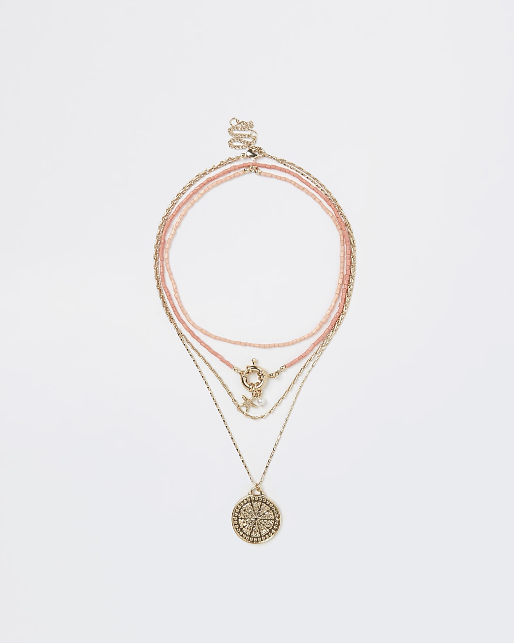 Gold & coral coin pendant multirow necklace