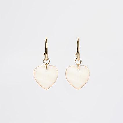 Gold & coral heart drop earrings
