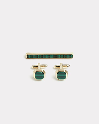 Gold & green cufflinks and tie pin set