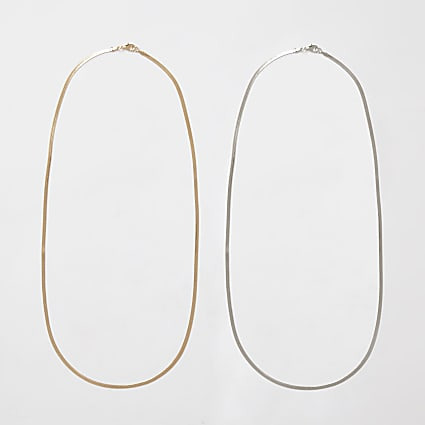 Gold & silver chain necklace 2 pack