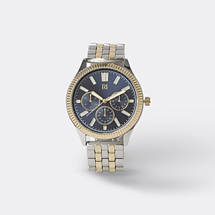 Gold & silver colour link strap watch