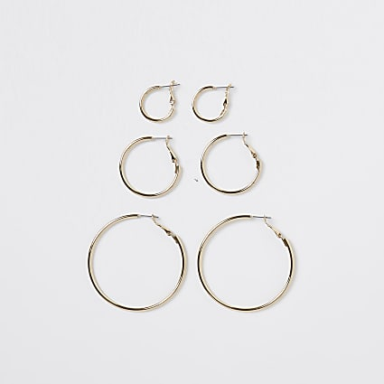 Gold 3 pack mixed size hoop earrings