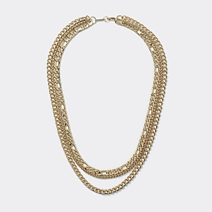 Gold 3 row gold chain necklace