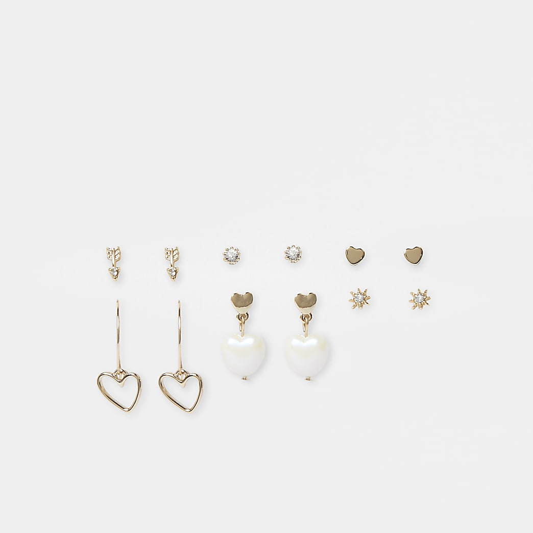 Gold 6 pack of mixed heart earrings