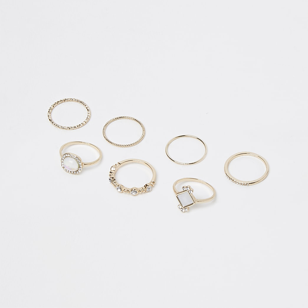 Gold 6 pack stacking rings