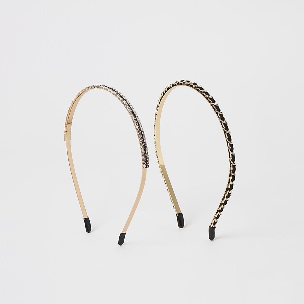 Gold and black embellished headband 2 pack
