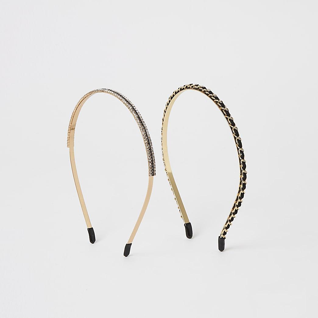Strass-Haarreifen in Gold und Schwarz, 2er-Set