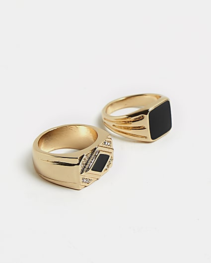 Gold and black stone diamante rings 2 pack