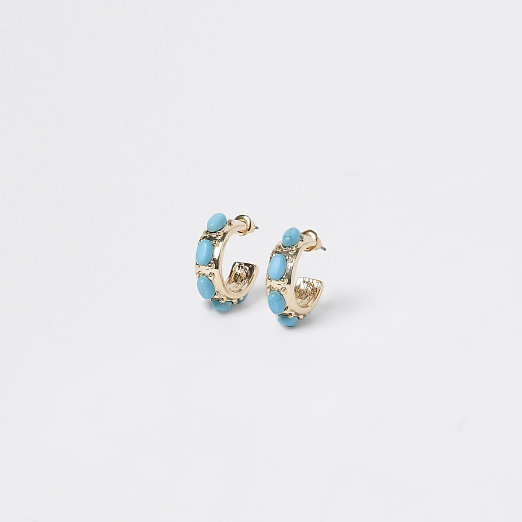 Gold and blue stone hoop earrings