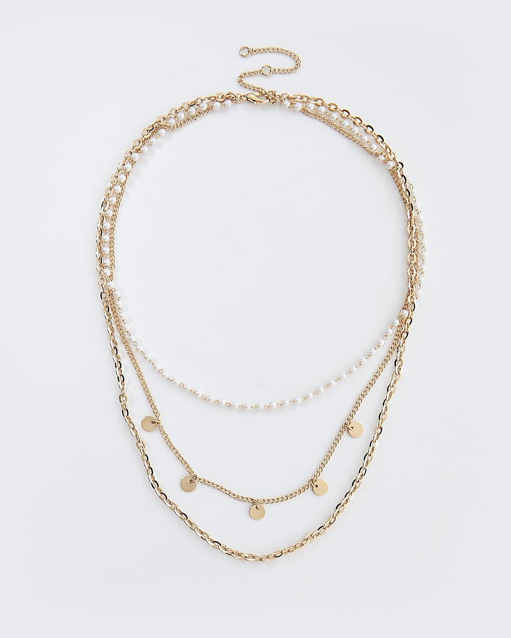 Gold and pearl layered choker