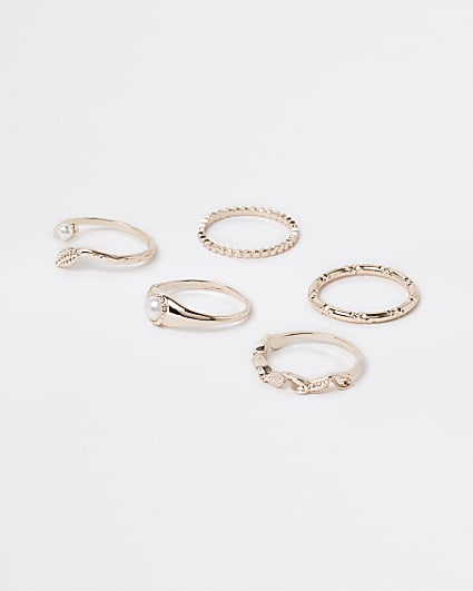 Gold and Pearl stacking rings multipack