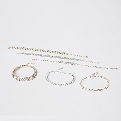 Gold and silver colour bracelets 6 pack