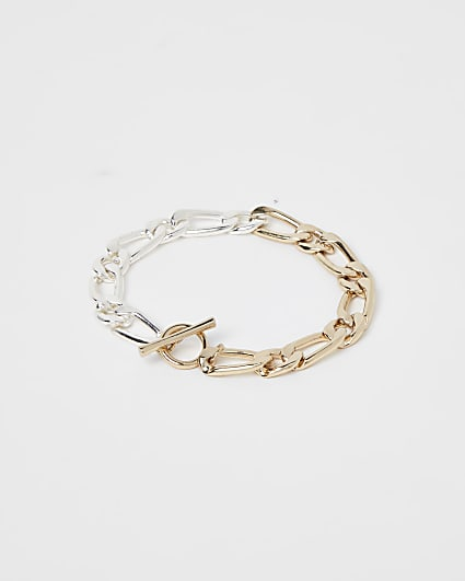 Gold and silver colour chain bracelet