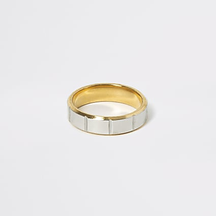 Gold and silver colour ridged ring