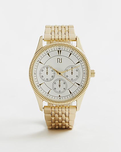 Gold and white RI branded link strap watch