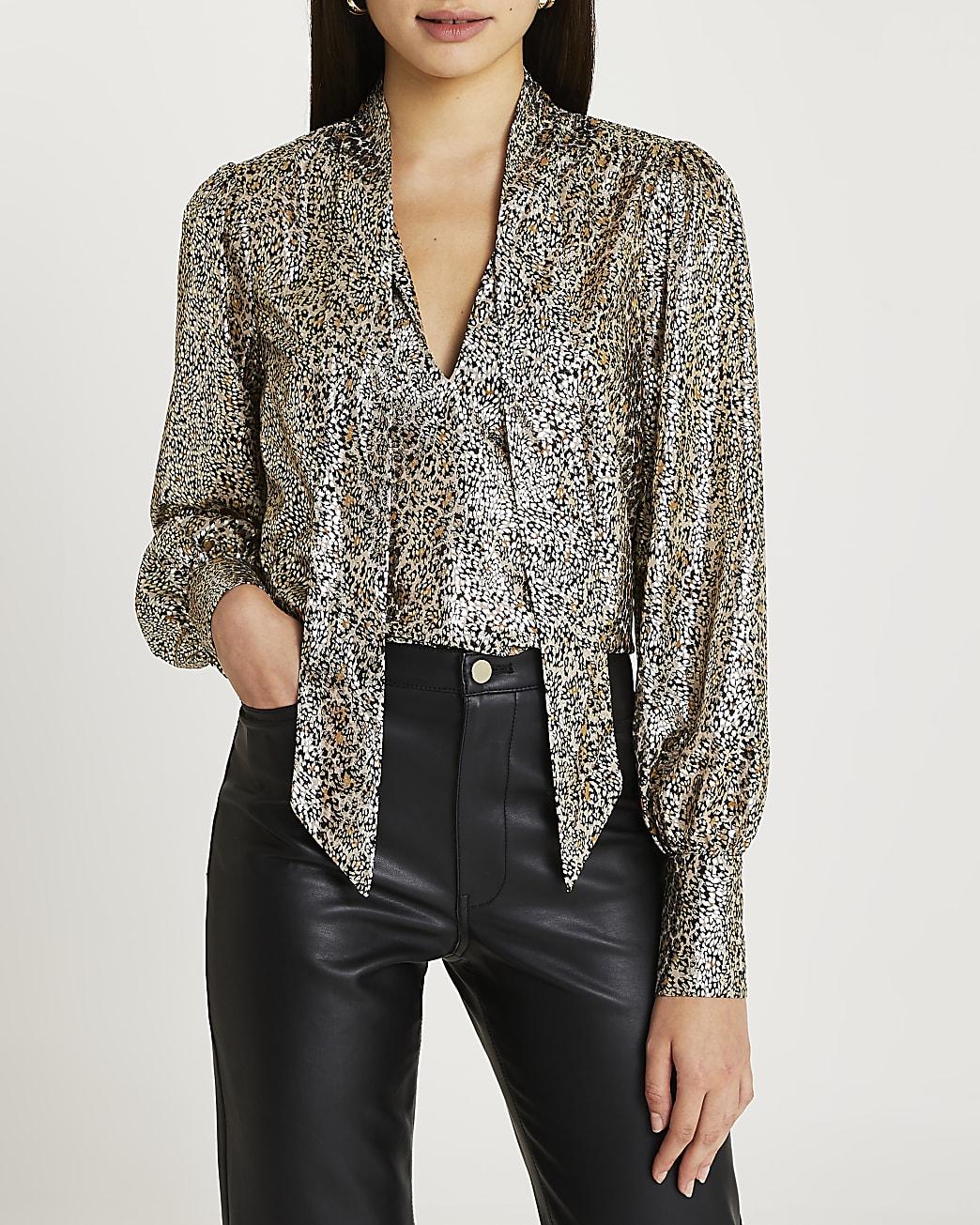 Gold animal print tie neck blouse