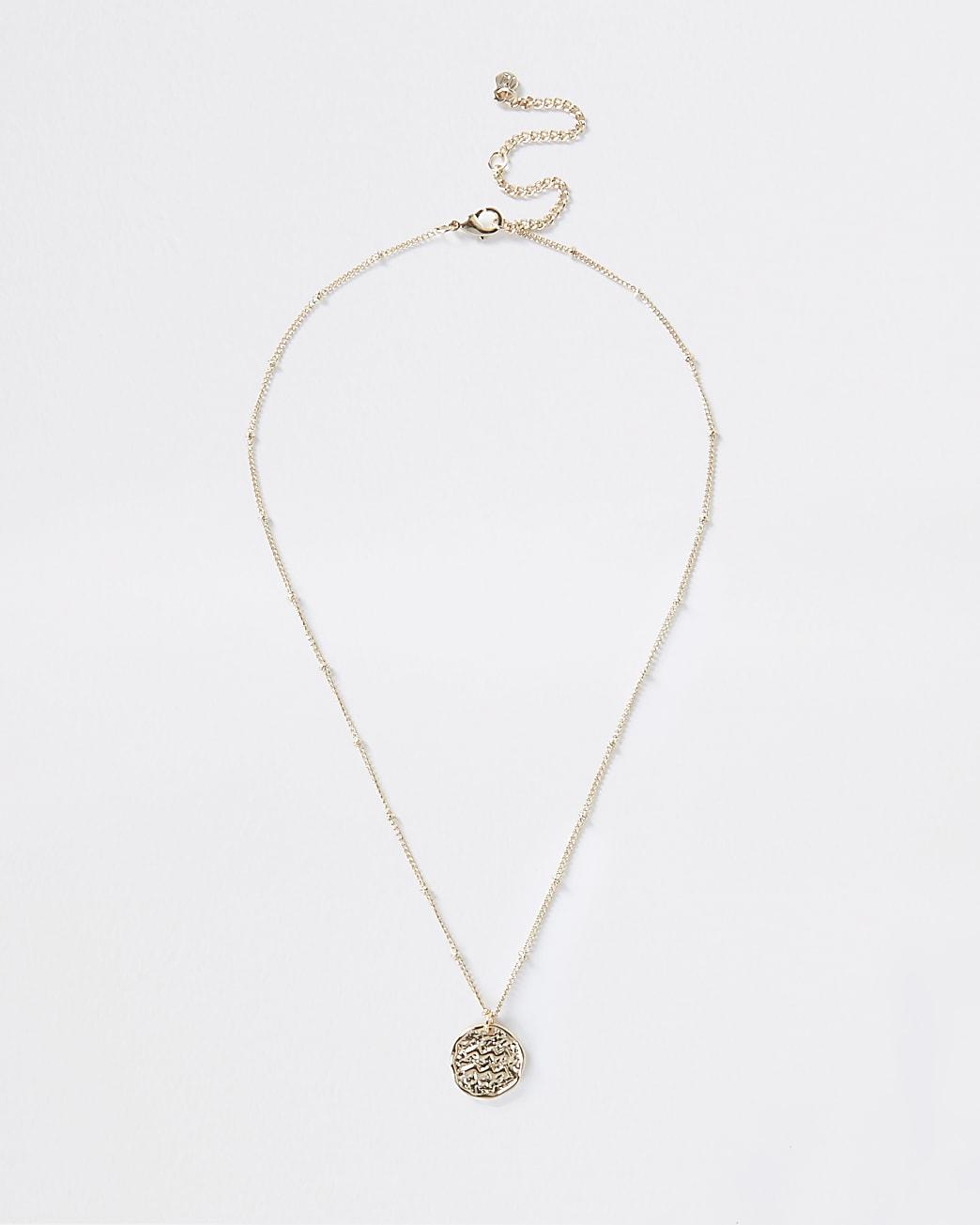 Gold Aquarius Horoscope Coin Necklace