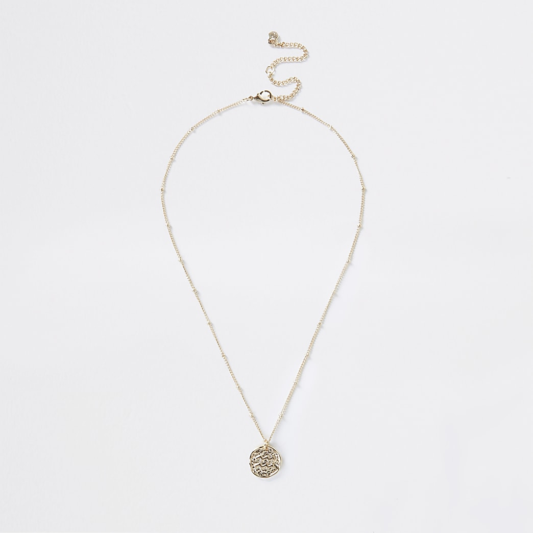 Gold Aquarius Horoscope Coin Necklace