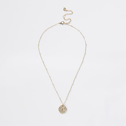 Gold Aries horoscope coin necklace