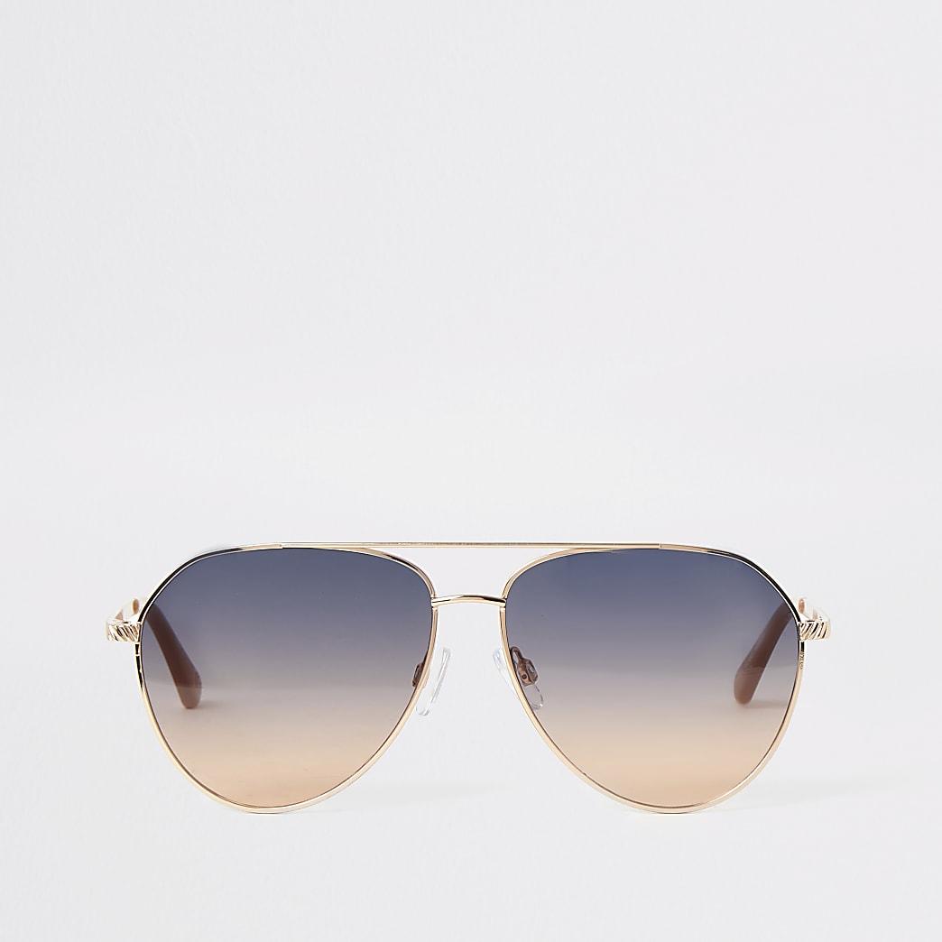 Lunettes de soleil aviateur dorées avec verres bleus