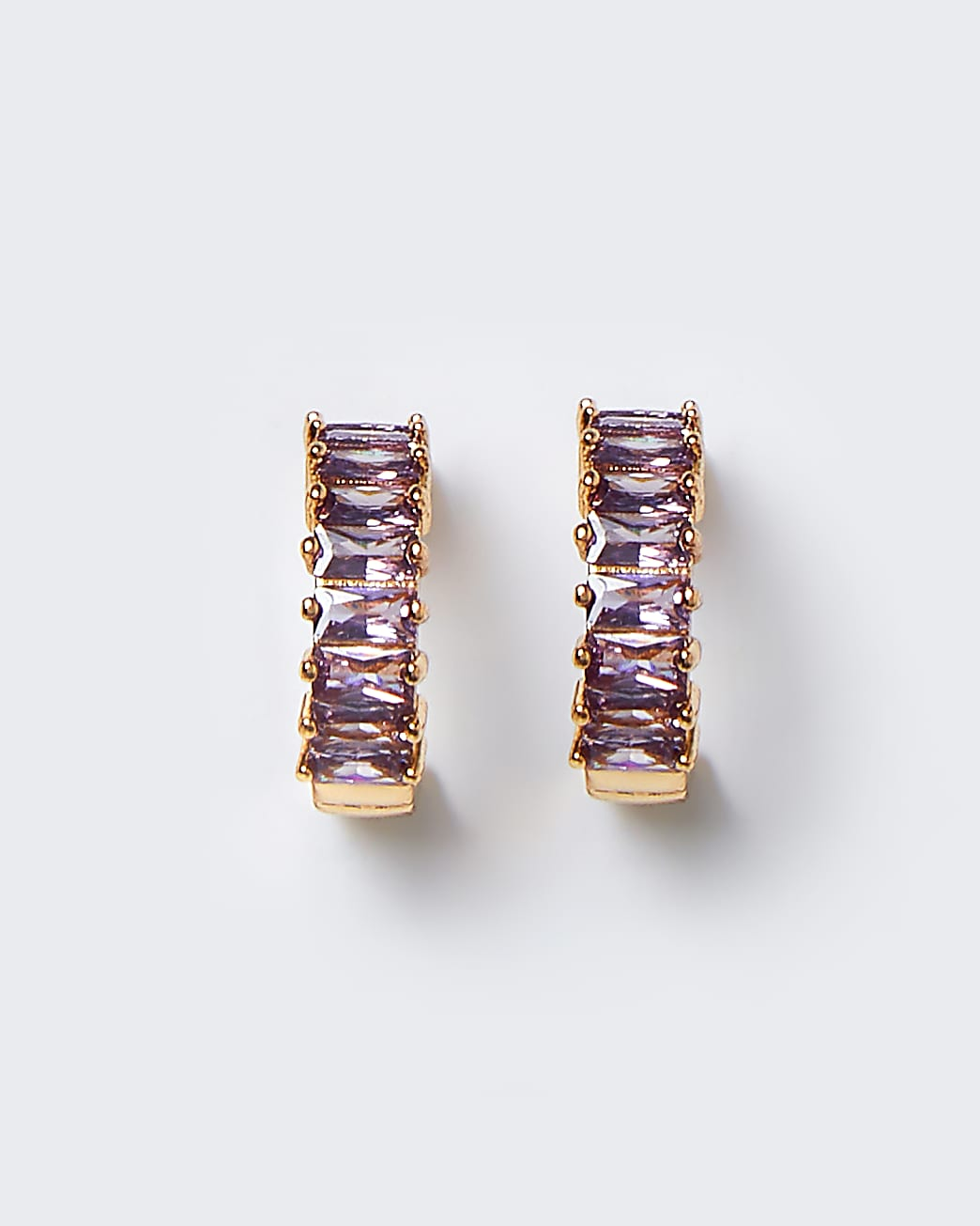 Gold baguette pink stone hoop earrings