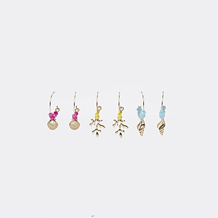 Gold bead and charm hoop multipack