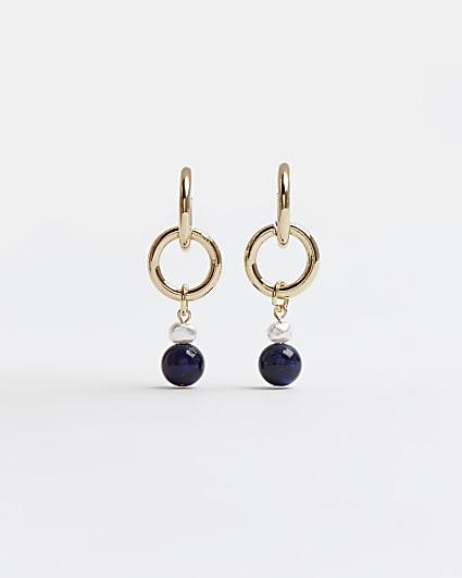 Gold beaded drop hoop earrings