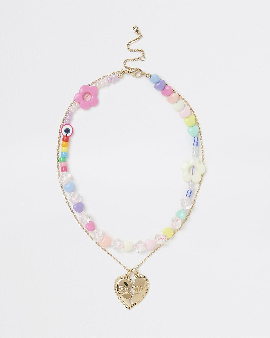 Gold beaded heart pendant multirow necklace