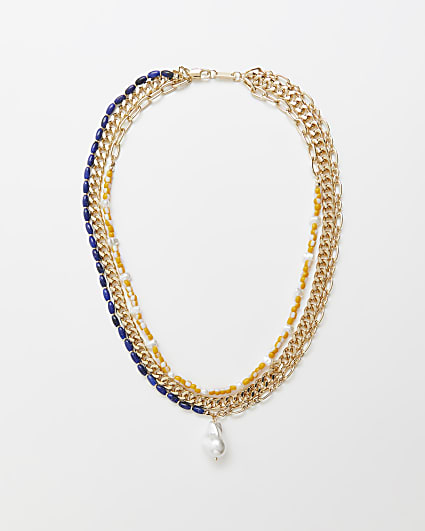 Gold beaded multirow chain necklace