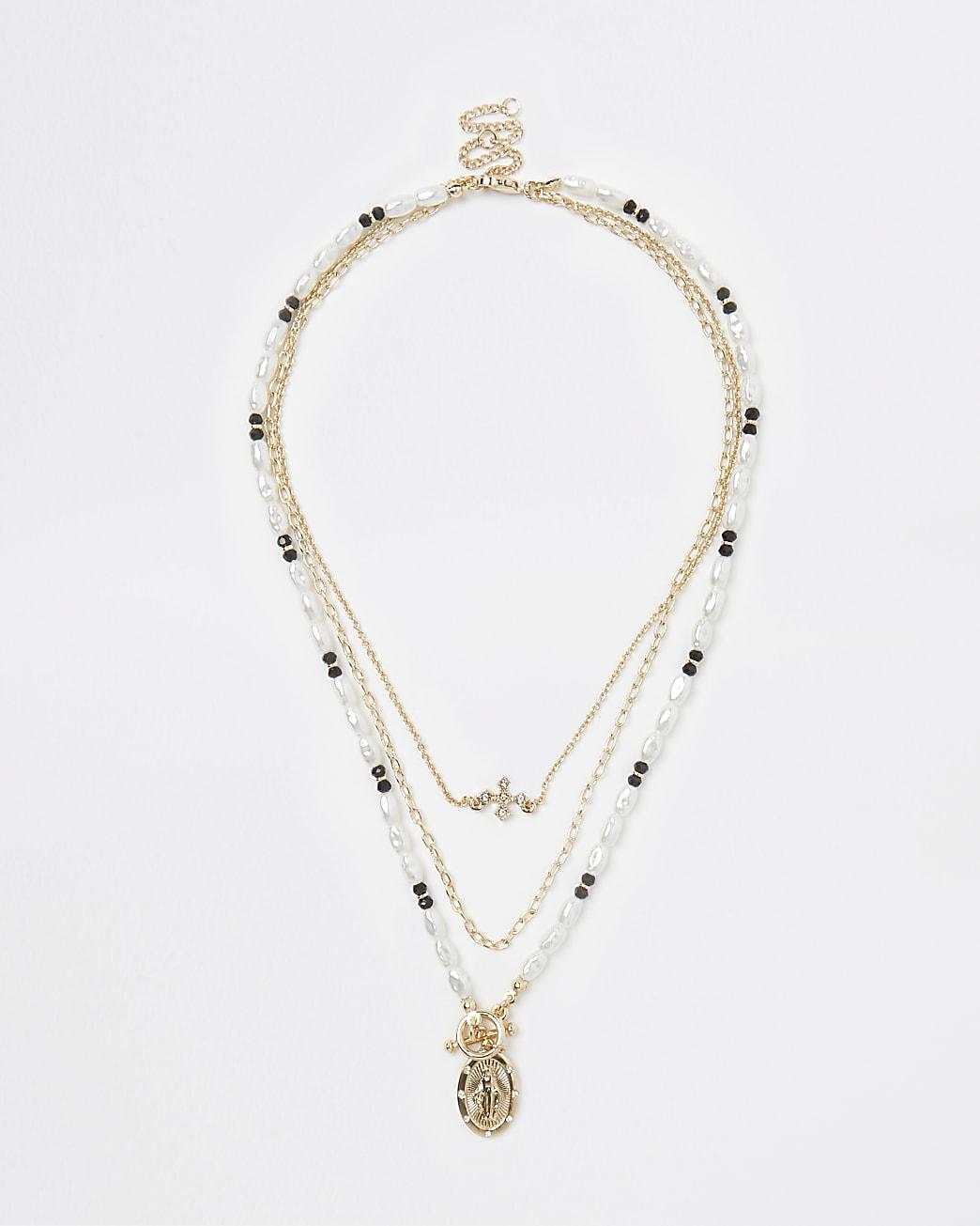 Gold beaded pendant multirow necklace