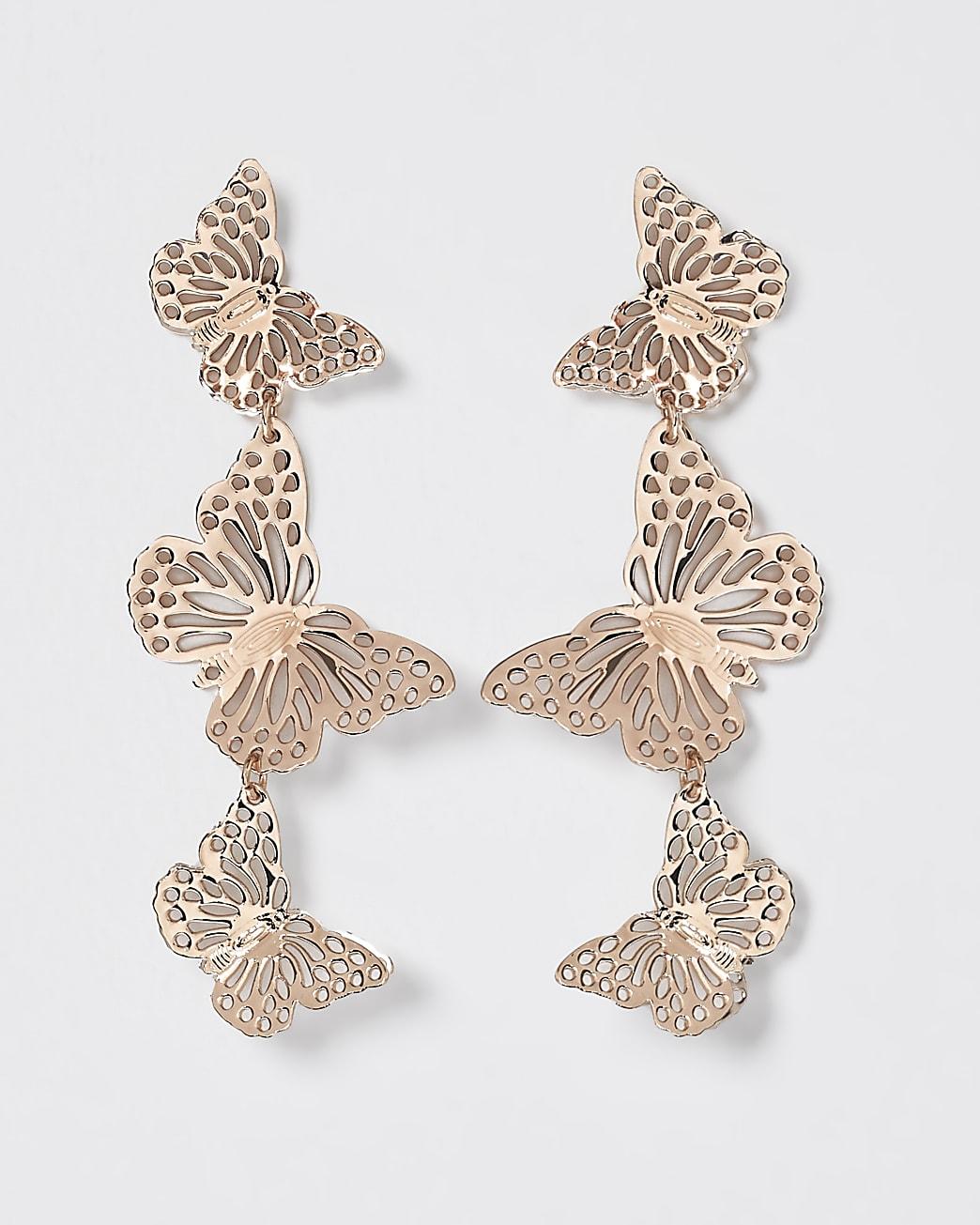 Gold butterfly cut out drop earring