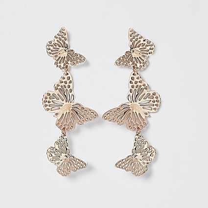 Gold butterfly cut out drop earring