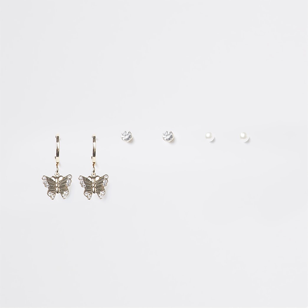 Gold butterfly hoop and diamante studs 3 pack