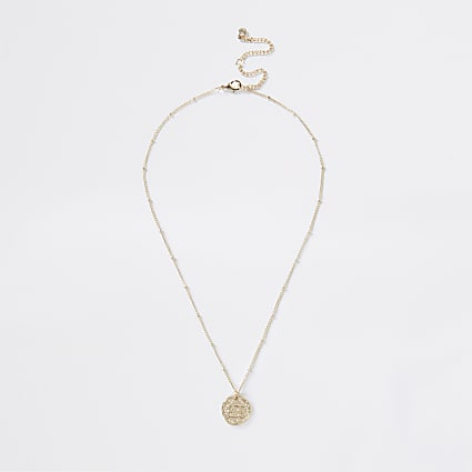 Gold Cancer Horoscope Coin Necklace