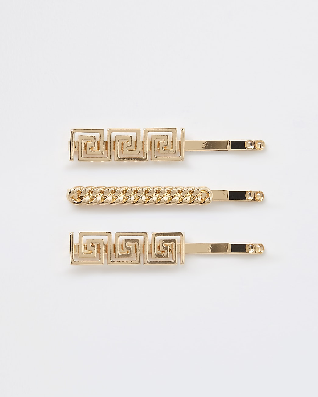 Gold chain detail hair slides multipack