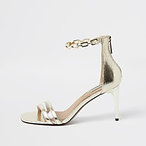 Gold chain detail heeled sandal
