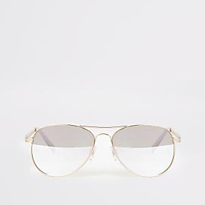 Pilotensonnenbrille in Gold mit Kettenprägung
