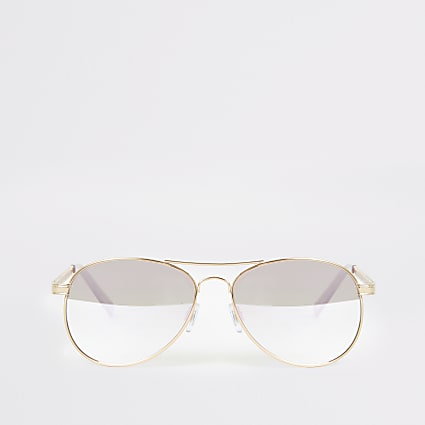 Gold chain embossed aviator sunglasses