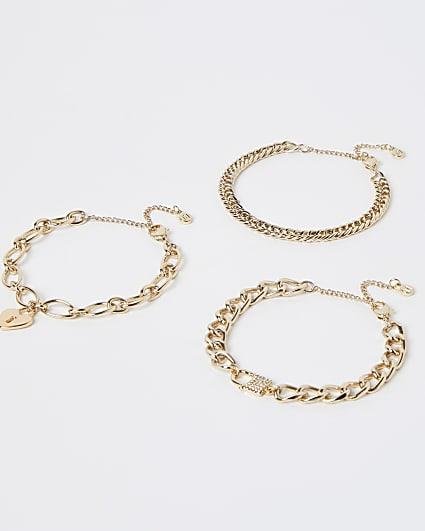 Gold chain link bracelets multipack