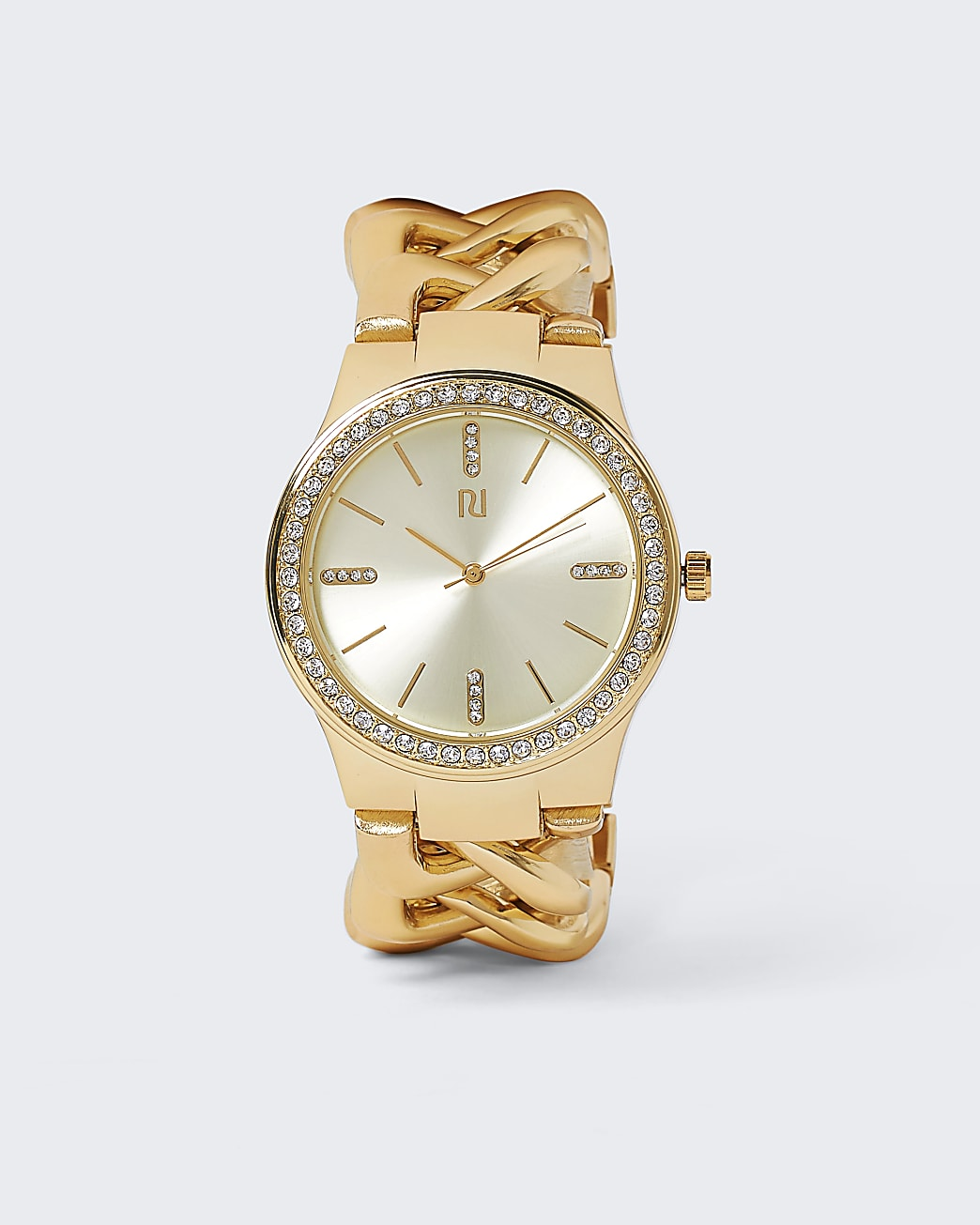 Gold chain link watch