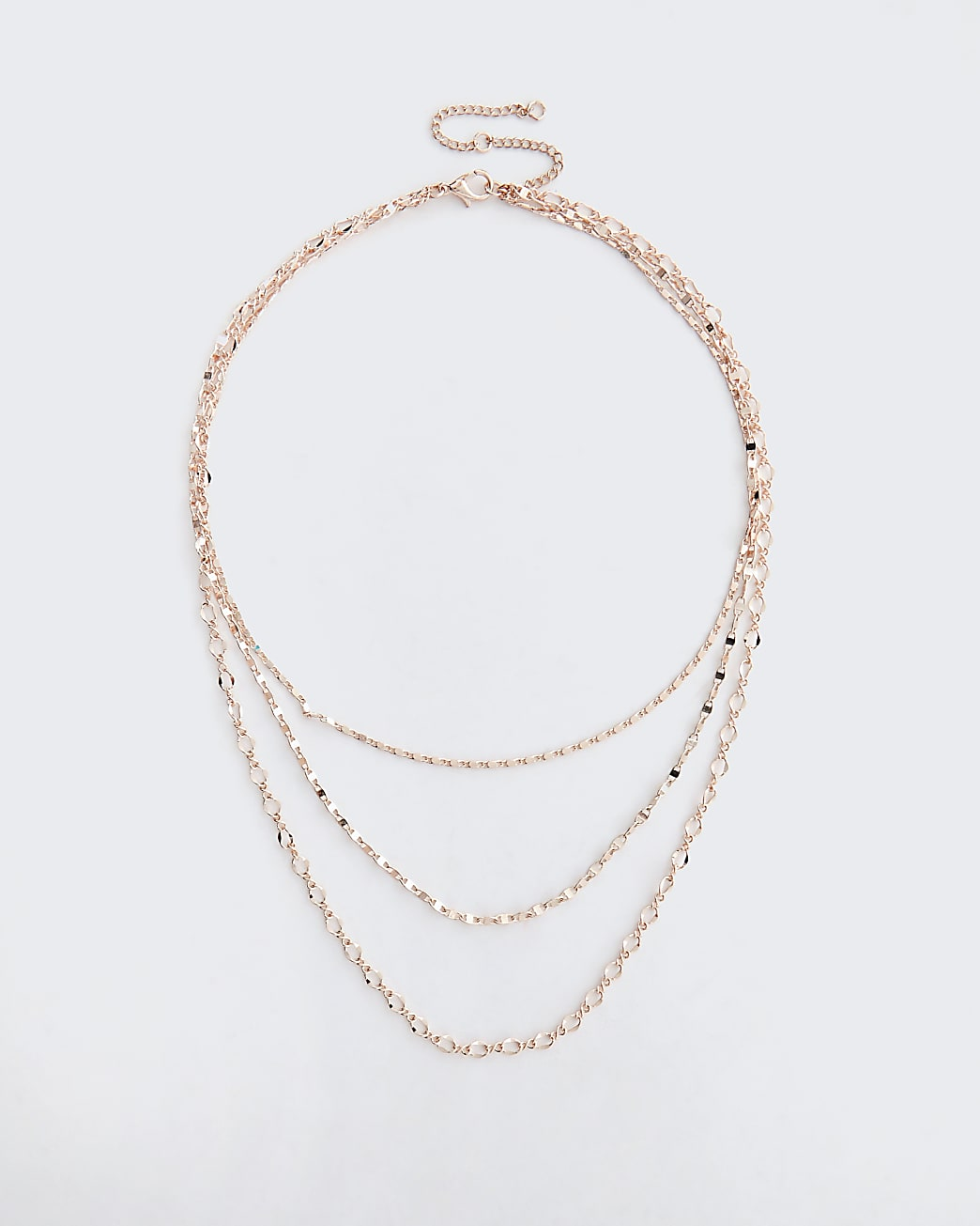 Gold chain multirow necklace