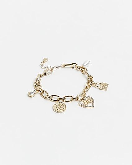 Gold charm chain link bracelet