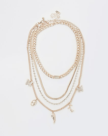 Gold charm multirow necklace