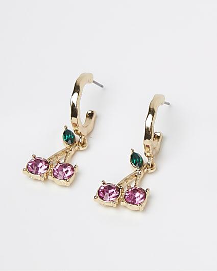 Gold cherry drop hoop earrings