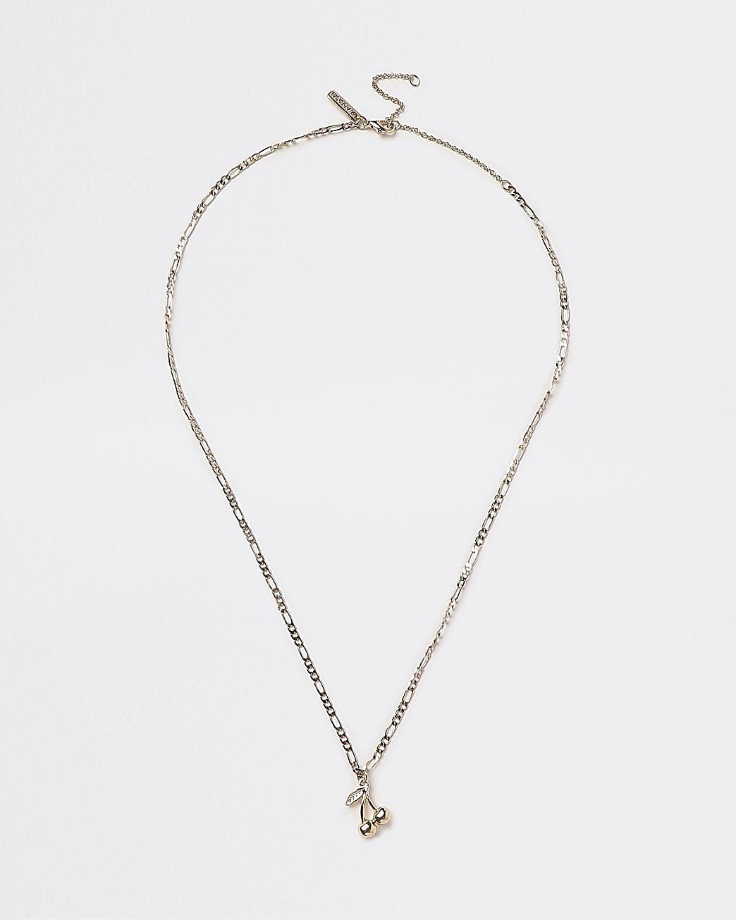 Gold cherry pendant necklace