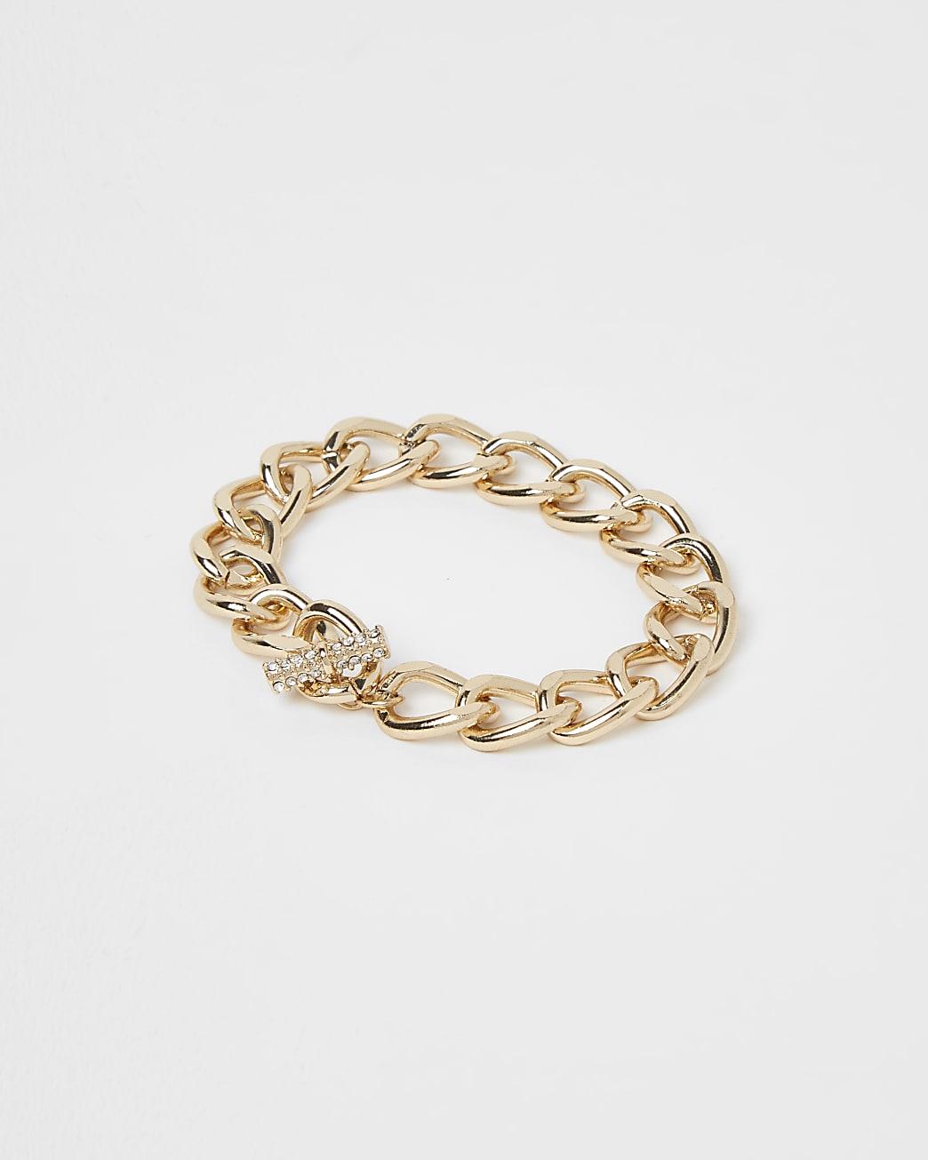 Gold chunky chain link bracelet