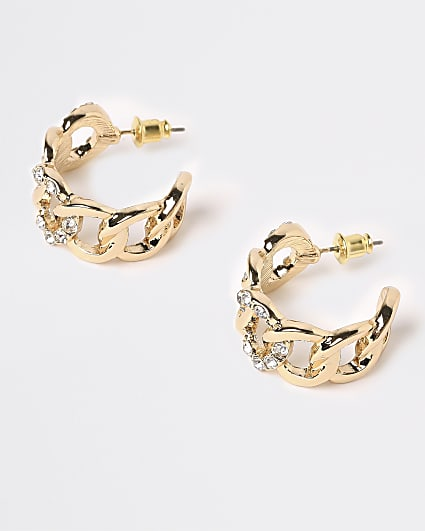 Gold chunky chain link hoop earrings